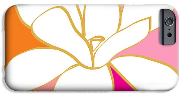 Magnolia iPhone Cases - Magnolia 4- colorful flower art iPhone Case by Linda Woods