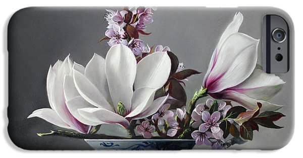 Magnolia iPhone Cases - Magnolia and Apple Blossem iPhone Case by Pieter Wagemans