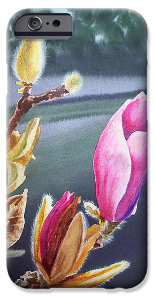 Magnolia iPhone Cases - Magnolia Blossoms iPhone Case by Irina Sztukowski