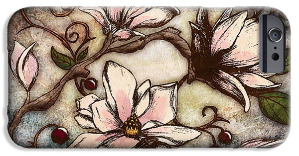 Magnolia iPhone Cases - Magnolia Branch I iPhone Case by April Moen