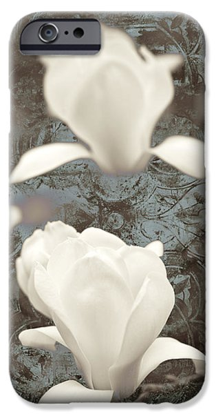 Botanical Mixed Media iPhone Cases - Magnolia iPhone Case by Frank Tschakert