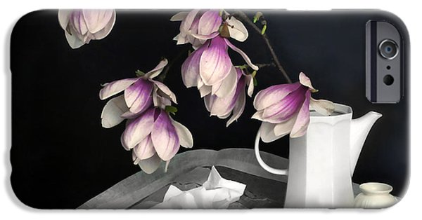 Still Life With Pitcher iPhone Cases - Magnolia Still iPhone Case by Diana Angstadt