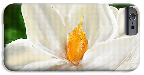Magnolia iPhone Cases - Magnolias Elegance- Magnolia Paintings iPhone Case by Lourry Legarde