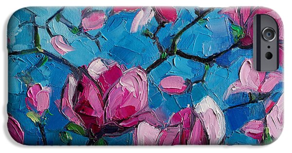 Petals iPhone Cases - Magnolias For Ever iPhone Case by Mona Edulesco