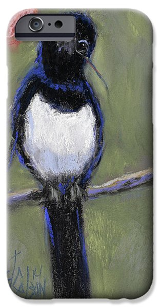 Country Pastels iPhone Cases - Magpie Love iPhone Case by Billie Colson
