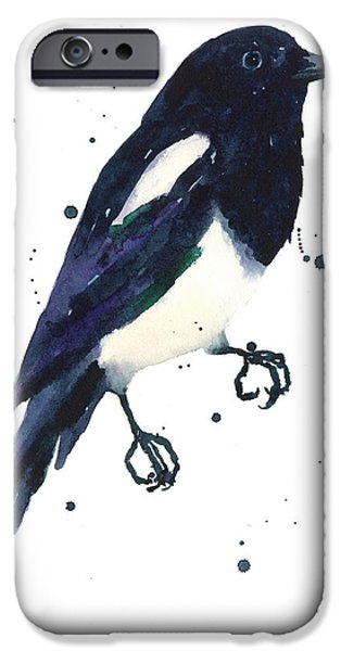 Magpies iPhone Cases - Magpie Painting iPhone Case by Alison Fennell