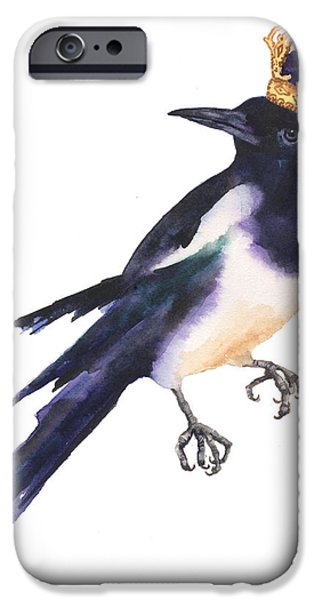 Magpies iPhone Cases - Magpie Watercolor iPhone Case by Alison Fennell