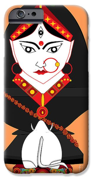 Hindu Goddess iPhone Cases - MahaGauri iPhone Case by Pratyasha Nithin