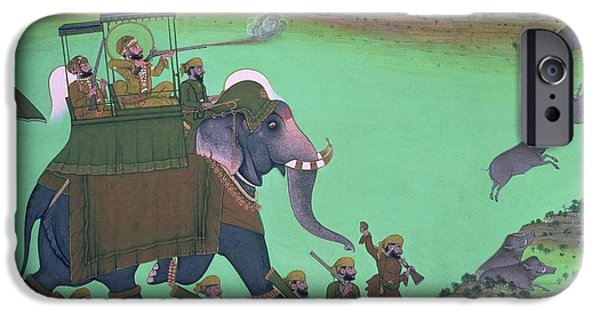 Elephant iPhone Cases - Maharana Sarup Singh Of Udaipur Shooting Boar From Elephant-back, Rajasthan, 1855 Wc On Paper iPhone Case by Indian School