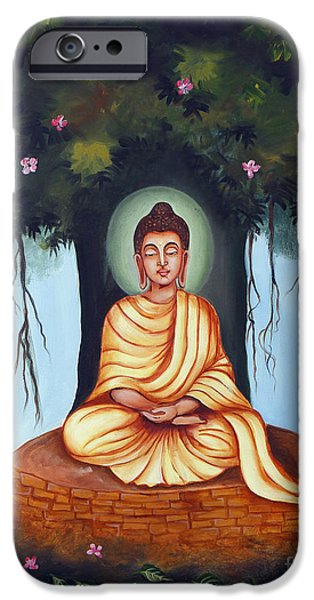 Seated iPhone Cases - Mahatma Buddha iPhone Case by Divya Kakkar