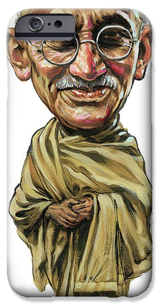 Vision Paintings iPhone Cases - Mahatma Gandhi iPhone Case by Art