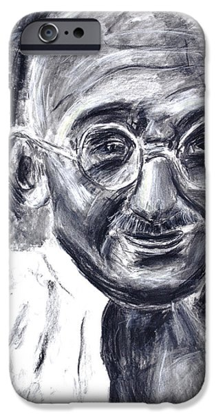 New Martyr iPhone Cases - Mahatma Gandhi in robe iPhone Case by Don Lee