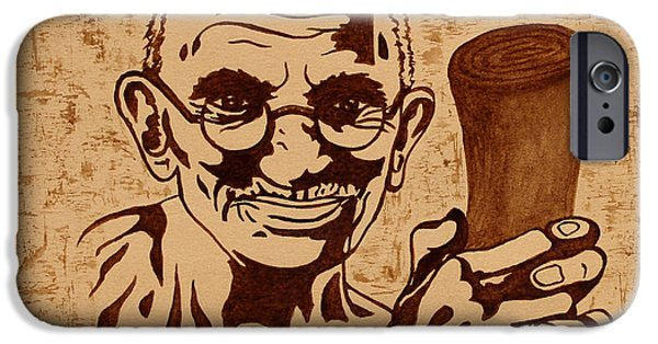 Independence Day Paintings iPhone Cases - Mahatma Gandhi Quote  iPhone Case by Georgeta Blanaru