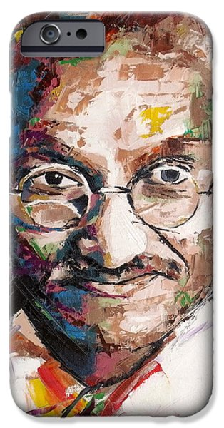 Independence Day Paintings iPhone Cases - Mahatma Gandhi iPhone Case by Richard Day