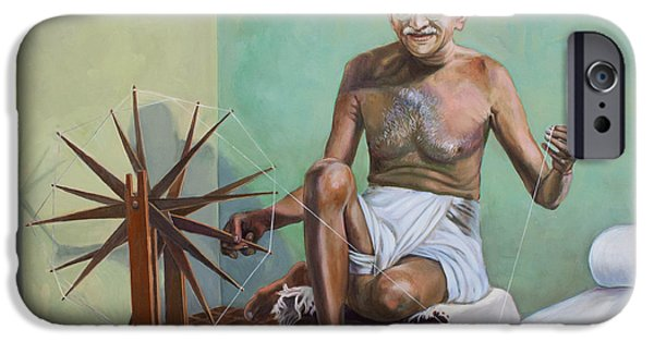 Politician iPhone Cases - Mahatma Gandhi spinning iPhone Case by Dominique Amendola