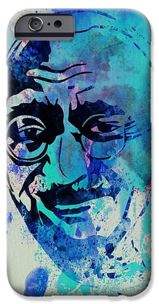 Liberation iPhone Cases - Mahatma Gandhi Watercolor iPhone Case by Naxart Studio