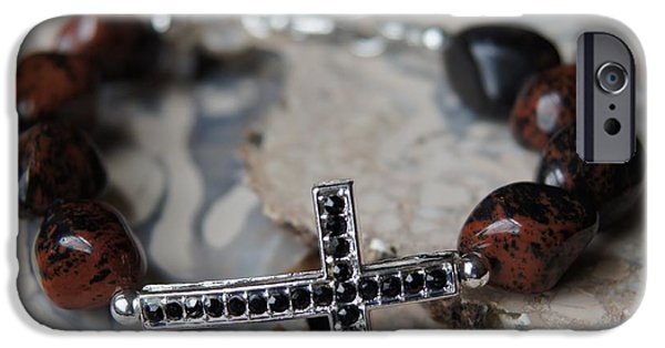 Religion Jewelry iPhone Cases - Mahogany Obsidian Cross Bracelet iPhone Case by Megan Cohen