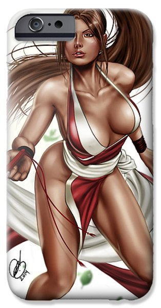Fury Drawings iPhone Cases - Mai Shiranui iPhone Case by Pete Tapang