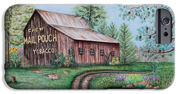 Fence Drawings iPhone Cases - Mail Pouch Tobacco Barn iPhone Case by Lena Auxier