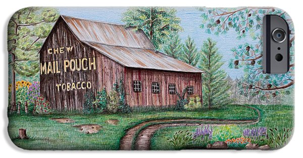 Pines Drawings iPhone Cases - Mail Pouch Tobacco Barn iPhone Case by Lena Auxier