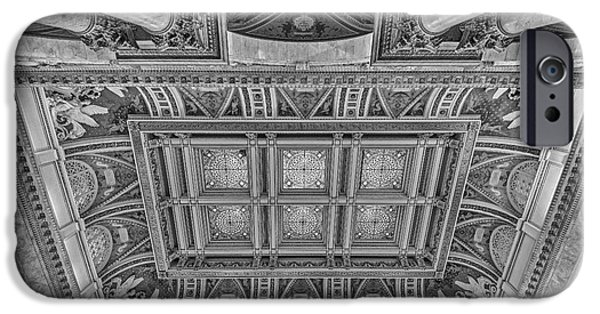United States iPhone Cases - Main Hall Ceiling Library Of Congress BW iPhone Case by Susan Candelario