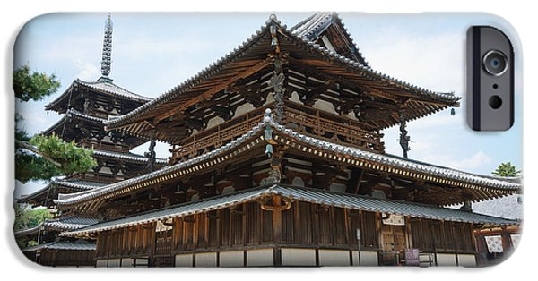 Horyu-ji iPhone Cases - Main Hall of Horyu-ji - worlds oldest wooden building iPhone Case by David Hill