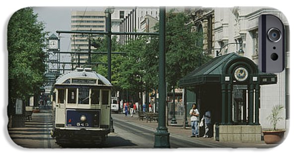 Tn iPhone Cases - Main Street Trolley Court Square iPhone Case by Panoramic Images
