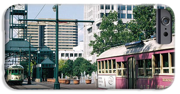 Tn iPhone Cases - Main Street Trolley Memphis Tn iPhone Case by Panoramic Images