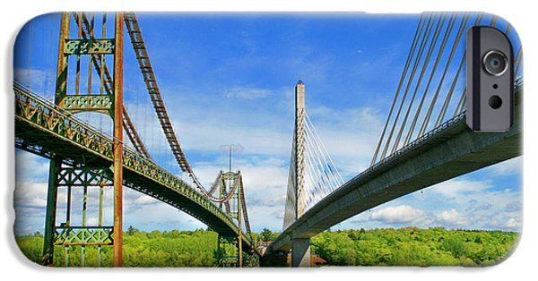 Island Stays iPhone Cases - Maine Bridges iPhone Case by Barbara West