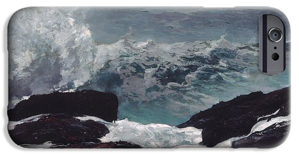Maine Landscapes Paintings iPhone Cases - Maine Coast iPhone Case by Winslow Homer