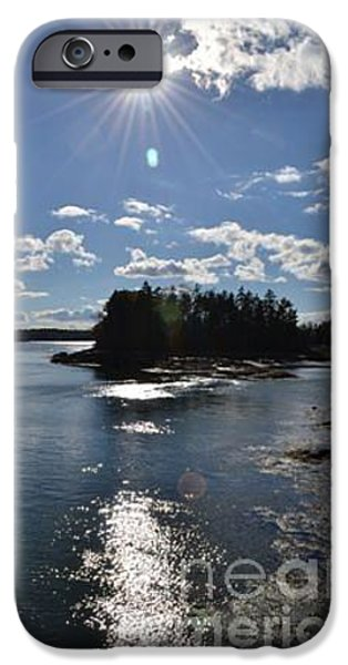 Maine Pyrography iPhone Cases - Maine Coastal SUnset iPhone Case by Susan Russo