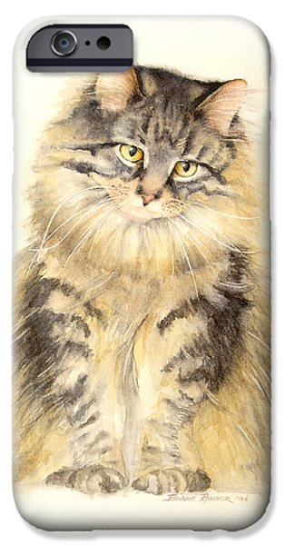Maine iPhone Cases - Maine Coon Cat iPhone Case by Bonnie Rinier