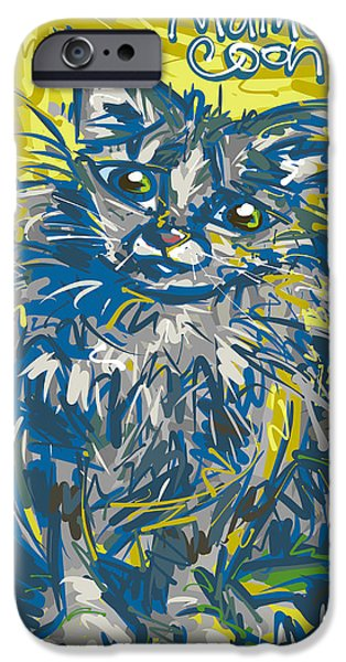 Maine Drawings iPhone Cases - Maine Coon Cat iPhone Case by Brett LaGue