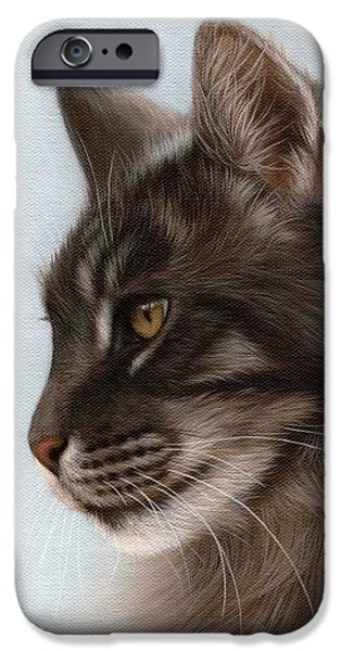 Feline Art iPhone Cases - Maine Coon Painting iPhone Case by Rachel Stribbling