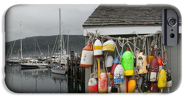 Bouys iPhone Cases - Maine Fishing Bouys and Harbor No. 028 iPhone Case by Randall Nyhof
