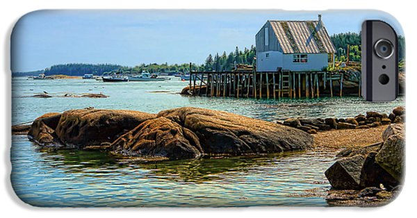 Maine iPhone Cases - Maine Fishing Port iPhone Case by Olivier Le Queinec
