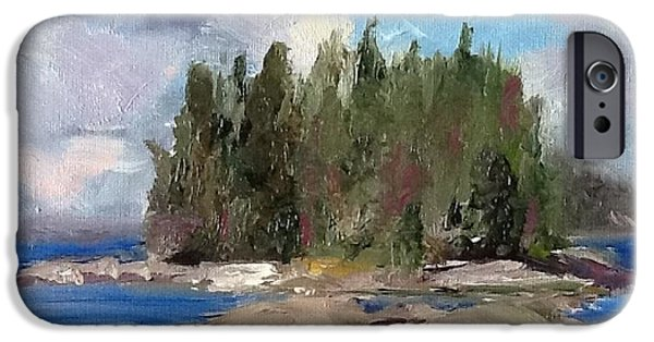 Maine Landscapes Paintings iPhone Cases - Maine Island iPhone Case by Patty Kay Hall