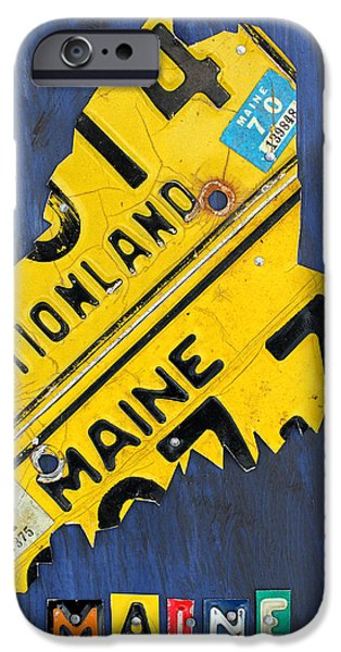 Maine iPhone Cases - Maine License Plate Map Vintage Vacationland Motto iPhone Case by Design Turnpike