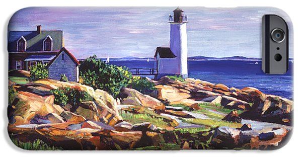 Maine Landscapes Paintings iPhone Cases - Maine Lighthouse iPhone Case by David Lloyd Glover