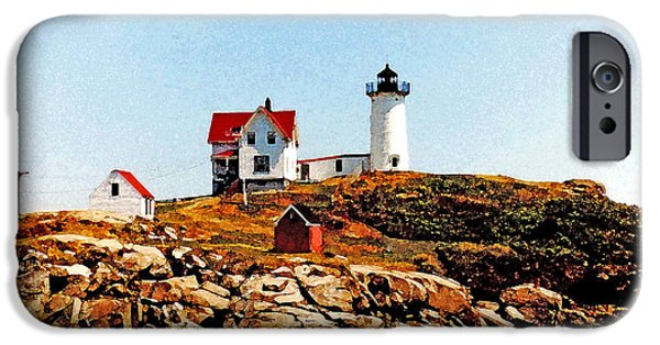 Maine Pyrography iPhone Cases - Nubble Lighthouse iPhone Case by Don Allen