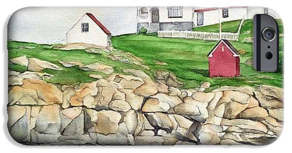 York Beach iPhone Cases - Maine Lighthouse Watercolor iPhone Case by Michelle Wiarda