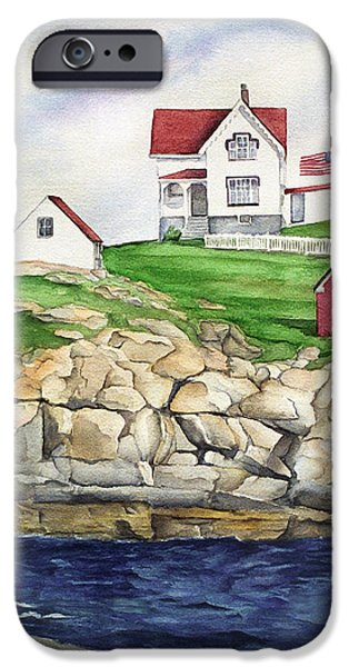 Maine Lighthouse Watercolor iPhone Case by Michelle Wiarda