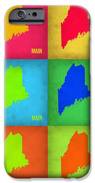 Maine iPhone Cases - Maine Pop Art Map 1 iPhone Case by Naxart Studio