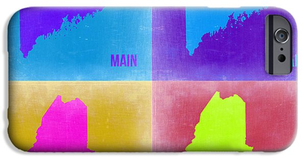 Maine iPhone Cases - Maine Pop Art Map 2 iPhone Case by Naxart Studio