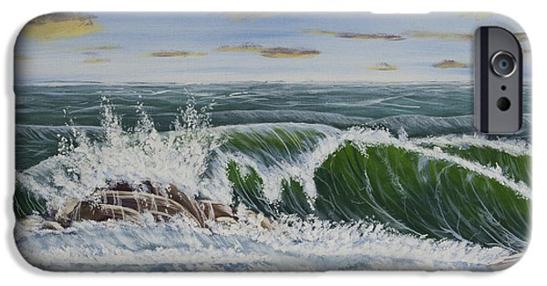 Storms Paintings iPhone Cases - Crashing Waves At Pemaquid Point Maine iPhone Case by Keith Webber Jr