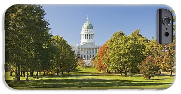 Historic Site iPhone Cases - Maine State Capitol Building and Park In Augusta iPhone Case by Keith Webber Jr