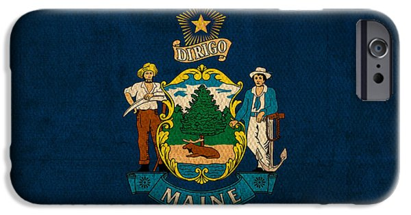 Maine iPhone Cases - Maine State Flag Art on Worn Canvas iPhone Case by Design Turnpike