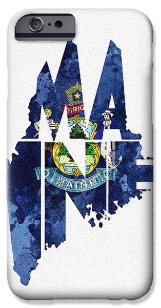 Lewiston iPhone Cases - Maine Typographic Map Flag iPhone Case by Ayse Deniz