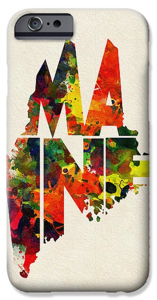 Lewiston iPhone Cases - Maine Typographic Watercolor Map iPhone Case by Ayse Deniz