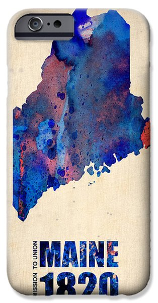 Maine iPhone Cases - Maine Watercolor Map iPhone Case by Naxart Studio